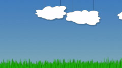 Animated Clouds and Grass Stock Footage