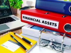 Financial Assets on Red Ring Binder. Blurred, Toned Image - stock illustration