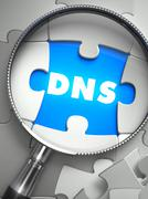 DNS - Puzzle with Missing Piece through Loupe Stock Illustration