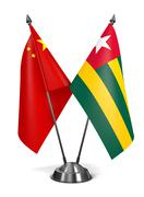 China and Togo - Miniature Flags Stock Illustration