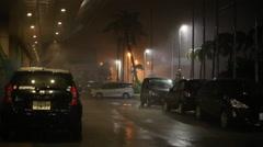 Violent Hurricane Eyewall Winds Lash Town - stock footage