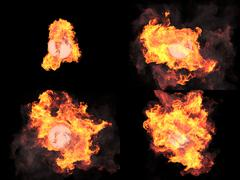 Stock Illustration of four versions. Sphere in fire