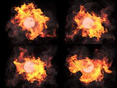 four versions. Sphere in fire - stock illustration