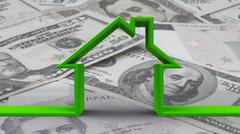 House outline on bw money background - stock photo