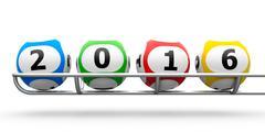 Lottery balls 2016 frame - stock photo