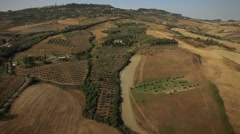 Aerial Tuscan landscape in Volterra Italy Stock Footage