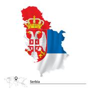 Map of Serbia with flag Stock Illustration