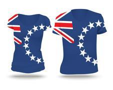 Flag shirt design of Cook Islands Stock Illustration