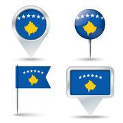 Map pins with flag of Kosovo Stock Illustration