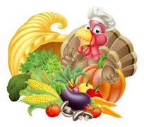 Turkey in Chef Hat and Cornucopia Stock Illustration