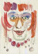 portrait of redhead woman - stock illustration