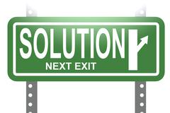 Solution green sign board isolated - stock illustration