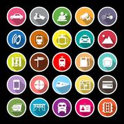 Land transport related flat icons with long shadow Stock Illustration
