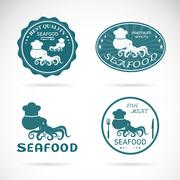 Set of vector octopus seafood labels on white background Stock Illustration