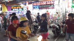 Night market in Quang Trung street in Go Vap Stock Footage