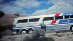 MOAB, UTAH 1975: Senior group traveling on a Greyhound bus across America. - stock footage