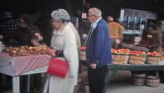 NEBRASKA 1975: Roadside farmers market in the heartland of the midwest America. Stock Footage