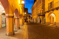 Old town of Alba at evening. Stock Photos