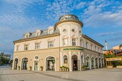 Scanderbeg Square building Pristina - stock photo