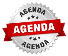 agenda 3d silver badge with red ribbon - stock illustration