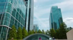 Corporate buildings, Canary Wharf financial district of London. Stock Footage