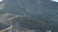 Line cable car through the mountains in Benalmadena, Spain Stock Footage