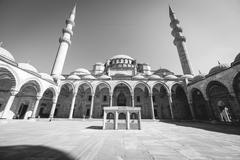 View of the majestic Suleiman Mosque patio, Istanbul, Turkey. - stock photo