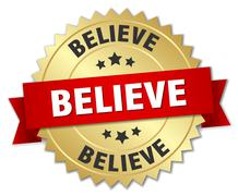 believe 3d gold badge with red ribbon - stock illustration