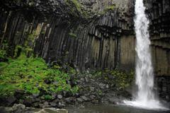 Amazing basalt columns at Svartifoss waterfall - stock photo
