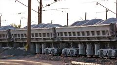 Train with ore by rail Stock Footage