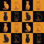 Continuous background. Cats in the squares. Stock Illustration