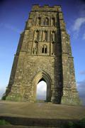 Vertical view of Glastonbury Tor - stock photo