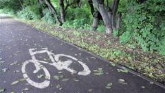 Track cycling in the park Stock Footage