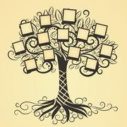 Memories vector tree with photo - stock illustration