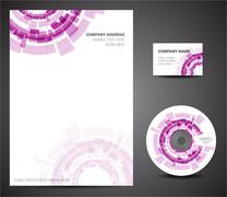 Design template set - business card, cd, paper - stock illustration