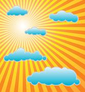 Stock Illustration of The hot summer sun with blue clouds