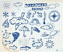 Set of grunge weather hand drawing icons - stock illustration