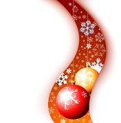 Christmas card - snowflakes and bulbs - stock illustration
