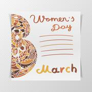Greeting Postcard with Womens Day Stock Illustration