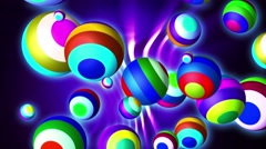 Colored balls flying on a cyclical background Stock Footage