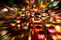 Traffic jam night shot, with dynamic blur effect Stock Photos