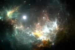 Star illuminating the nebula - stock illustration