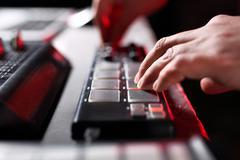 Mixing console, DJ job in the disco Stock Photos