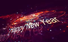 New year decoration over blurred background - stock illustration