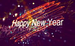 Stock Illustration of New year decoration over blurred background