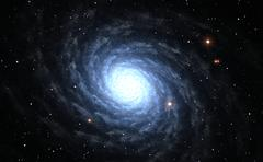 Illustration of blue Spiral Galaxy with star field - stock illustration