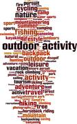 Outdor activity word cloud - stock illustration