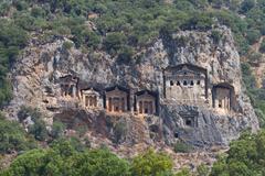Kaunian rock tombs from Dalyan, Ortaca, Turkey - stock photo