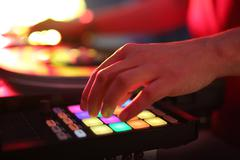 DJ beats with black plate - stock photo