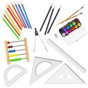 Stock Illustration of Assortment of school supplies isolated on white background